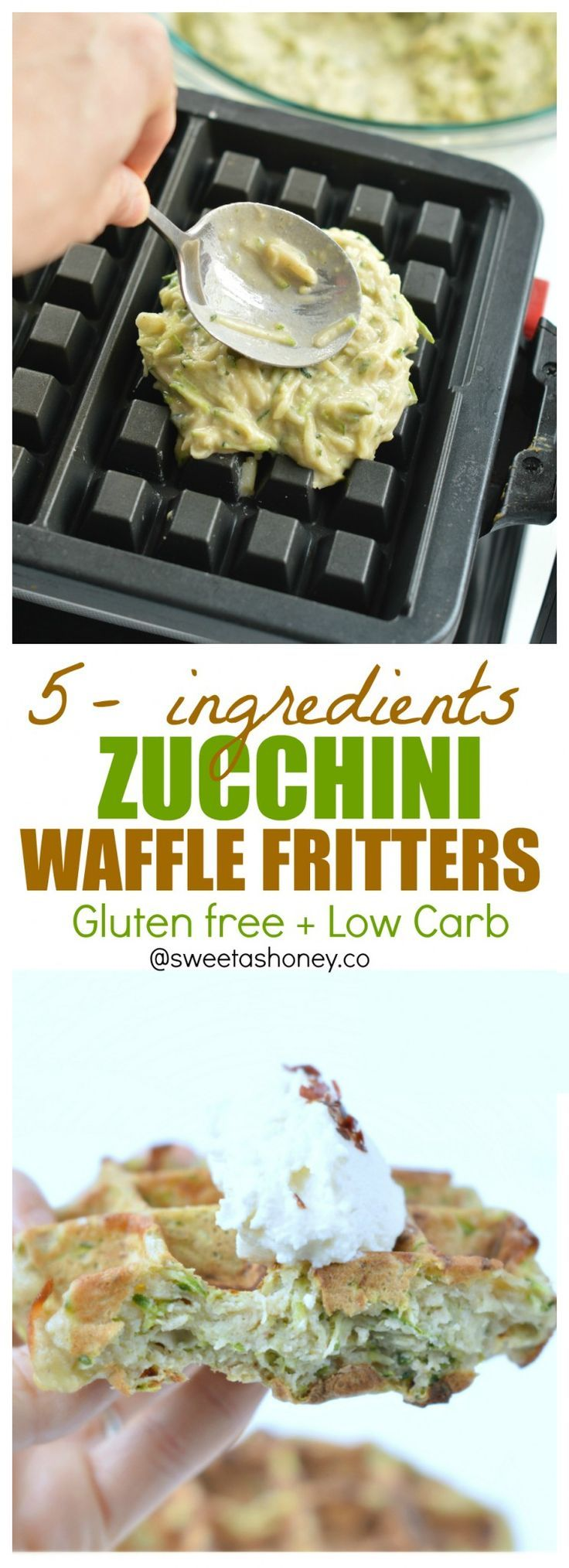 Zucchini waffles, a great way to makes kids eat veggie! A simple make-ahead and freezable zucchini waffle fritter recipe. Gluten free, low carb (