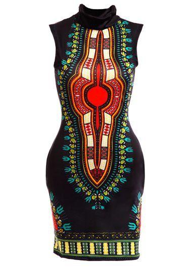 Black African Dashiki Print Sleeveless Hign Neck Bodycon Dress