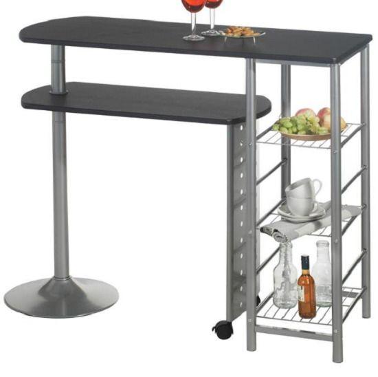 bar table high breakfast coffee dining storage shelf wood space rh pinterest com