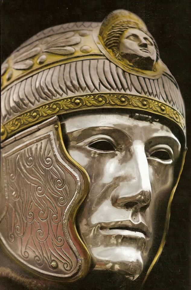 Roman mask helmet, 1st 2nd century CE. These are often called 'parade' helmets for cavalry sports use, but it has been suggested that they were also used in combat. The psychological effect of being charged by one of these masked warriors would have been formidable.