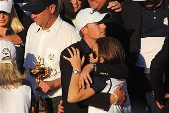 Ryder Cup 2016. Day Three. Jordan Spieth and his partner Annie Verret as the