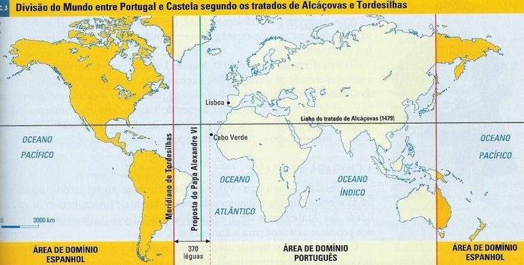 O Tratado de Tordesilhas dividia o mundo em duas partes e passava a 370 léguas a oeste de Santo Antão, a ilha mais ocidental do arquipélago de Cabo Verde.