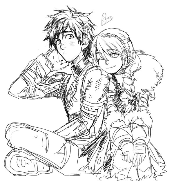 Hiccup and Astrid -cute