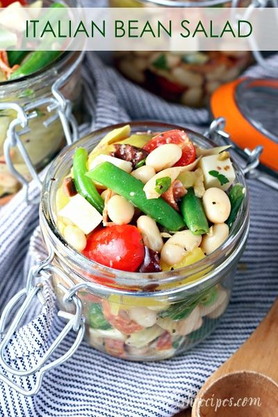 Italian Bean Salad Recipe | A healthy, protein packed salad featuring two kinds of beans, pepperoni, cheese, artichoke hearts, peppers and an Italian vinaigrette.