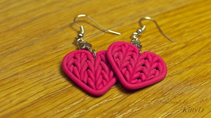 polymer clay knitted hearts earrings