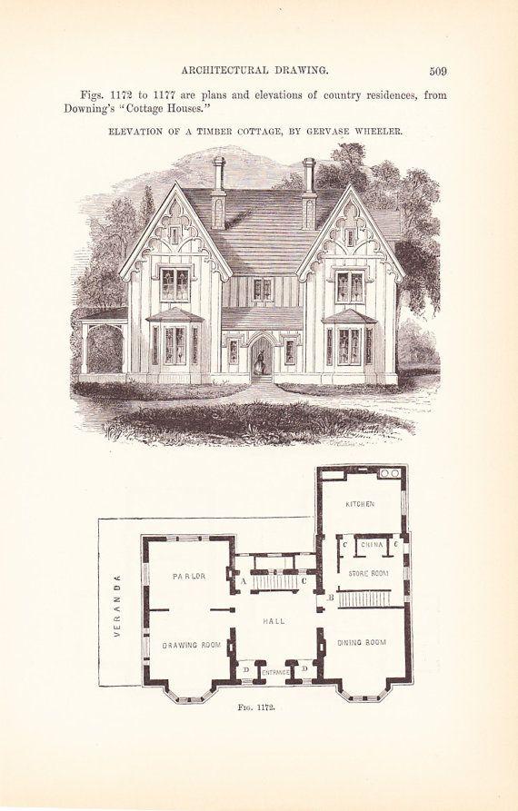 1889 architecture print house blueprint vintage antique art rh pinterest com