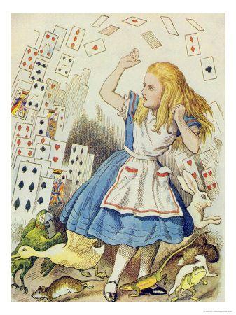 The Shower of Cards, Illustration from Alice in Wonderland by Lewis Carroll Impressão giclée