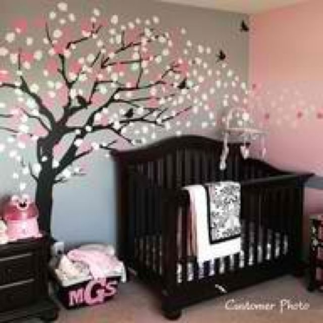 Girls baby room. Pink and grey with a tree