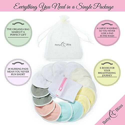 Reusable Natural Bamboo Nursing Pads  14 Pads+3 Bonus Items Perfect Baby Shower Gift With 3 Size Variants With Laundry /& Organza Bags Leak-proof Soft /& Super absorbent