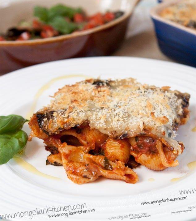 Aubergine & Pasta bake Recipe with creamy vegan bechamel sauce