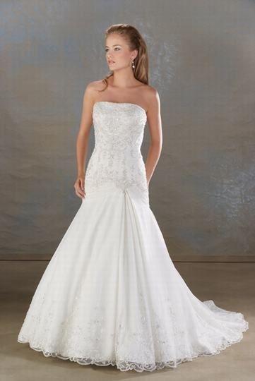 Robe de mariée de nouveauté en Satin et en dentelle sans bretelle ornée de Broderies