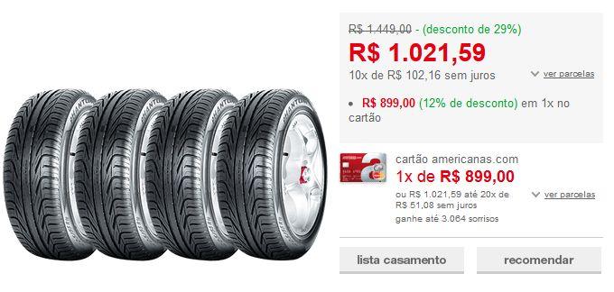 Kit com 4 Pneus Pirelli Aro 16 205/55R16 Phantom 91W << R$ 89910 >>