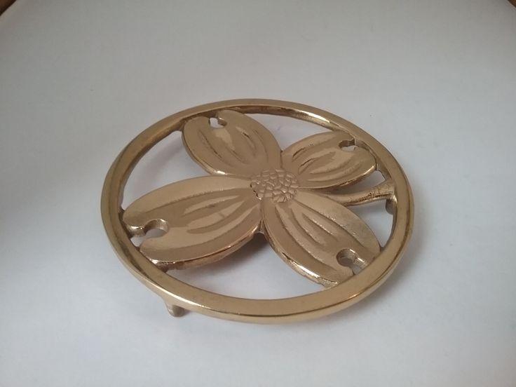 Vintage Brass Dogwood Trivet, Brass Trivet, Brass Decor, Vintage Decor, Metal Trivet, Midcentury, Bridal Shower Gift, Gifts for Gardeners by SecondActShop on Etsy