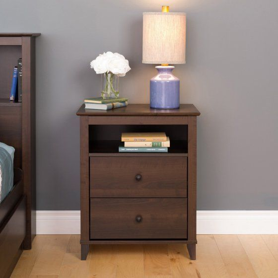 Yaletown 2-Drawer Tall Nightstand, Multiple Finishes