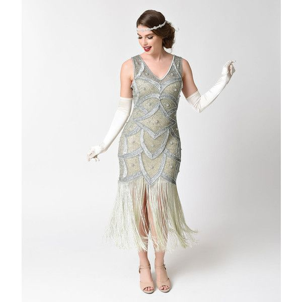 Unique Vintage Silver & Seafoam Beaded Mesh Isadora Fringe Flapper... ($328) ❤ liked on Polyvore featuring dresses, metallic, white beaded cocktail dress, beaded cocktail dresses, white sequin dress, silver cocktail dress and silver metallic dresses