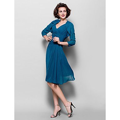 A-line Plus Sizes Mother of the Bride Dress - Ink Blue Knee-length 3/4 Length Sleeve Chiffon – USD $ 99.99