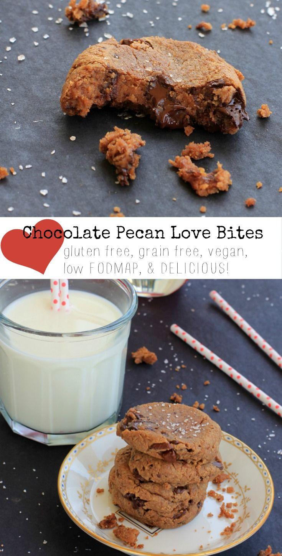 Gluten Free Vegan Cookies | Dark Chocolate Pecan Love Bites | Also, grain free, low FODMAP, and absolutely delicious!