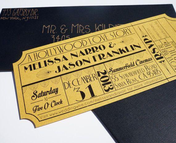 Old Hollywood Art Deco Gold Movie Ticket by brighteyedbirdie $4.00