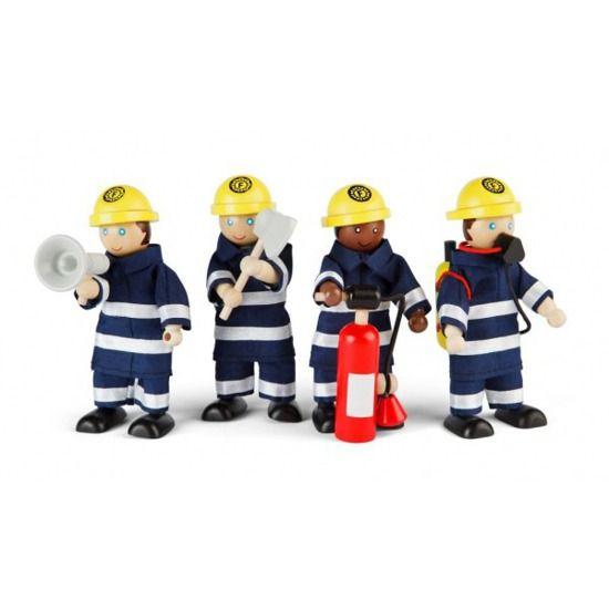 Drewniane figurki strażaków - 4 szt