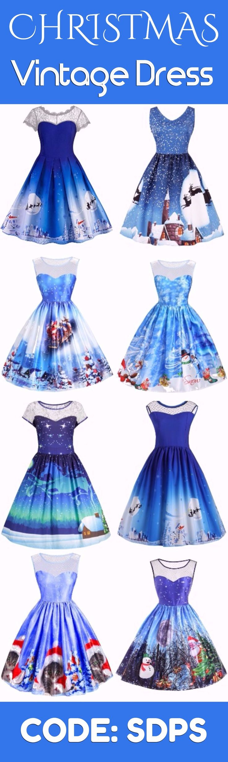 #Vintage #Dress Merry Christmas | Start at only $10 | Blue Fantasy | Sammydress.com