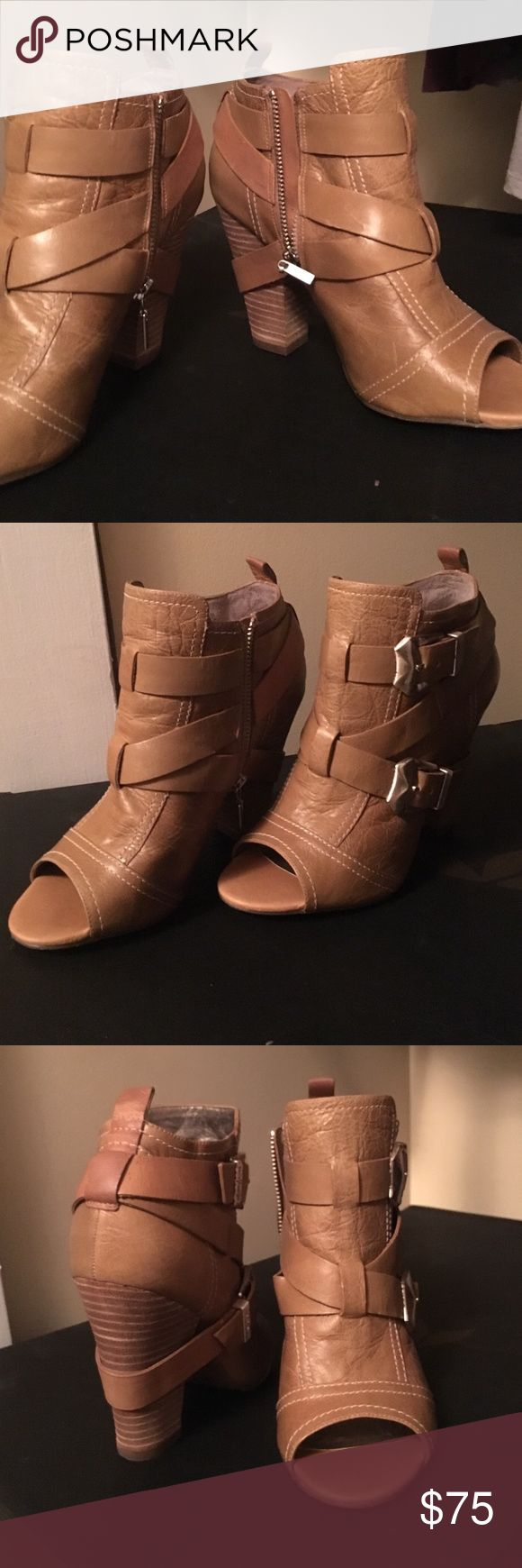 Vince Camuto gladiator leather sandals heels pumps Vince Camuto gladiator sandals with stacked heel and real leather upper and sole - gorgeous and smell amazing. Never worn but no box - rare & sold out everywhere. Vince Camuto Shoes Heels