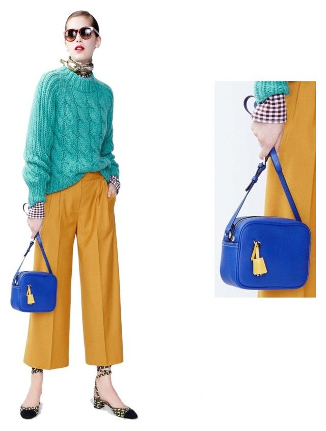 """""""Bright Blue Purse JCrew 2016 Fall Winter Fashion Week"""" by justvisiting ❤ liked on Polyvore featuring J.Crew"""