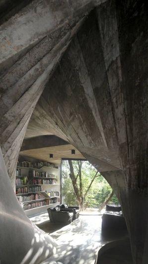 a concrete livingroom