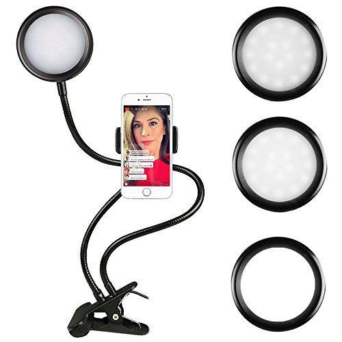 Dimmbares LED-Ringlicht mit Stativ, Mini-LED-Studiokameralicht, Fülllichter, Schreibtischlampe für YouTube-Video, Live-Stream, Make-up, Kamera und Smartphone (Helligkeitsstufe 3)