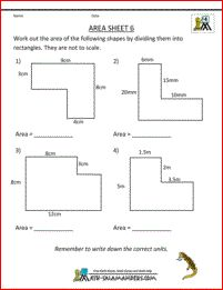 math worksheets 4th grade area 6