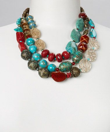 Love this Coral & Turquoise Bead Triple-Strand Necklace on #zulily! #zulilyfinds   I don't usually like big and chunky, but this is pretty cool.