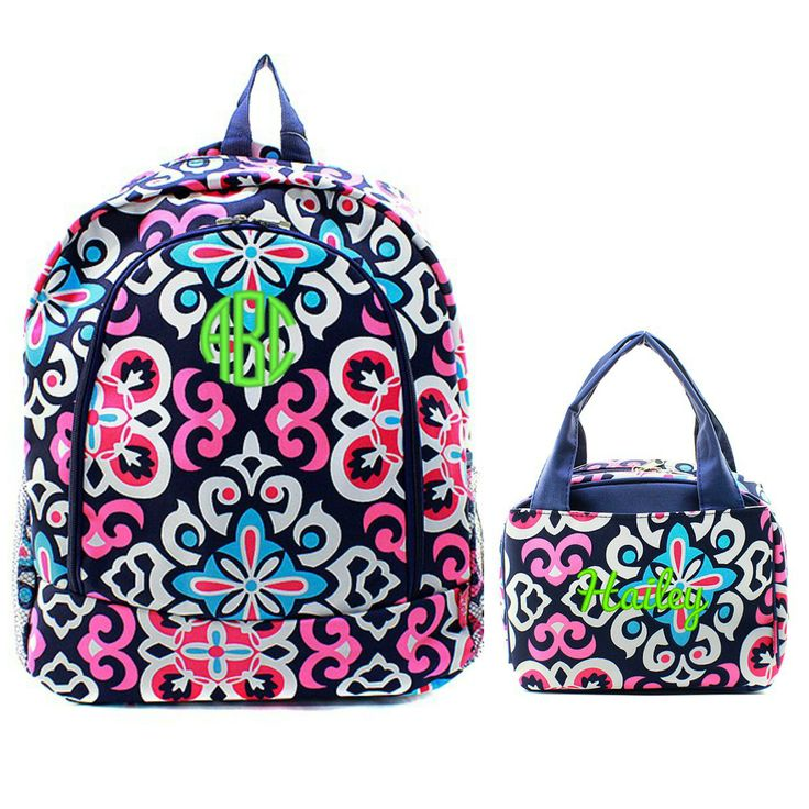 Matching Moroccan Navy Pink Personalized Kids Backpack & Lunch Bag Set
