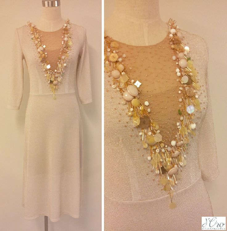 KV Couture, fashion designer Kristina Viirpalu #White #dress #golden #details #embroidery