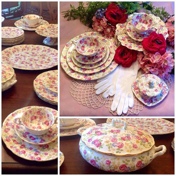 Royal Stafford June Rose bone china dinner set for