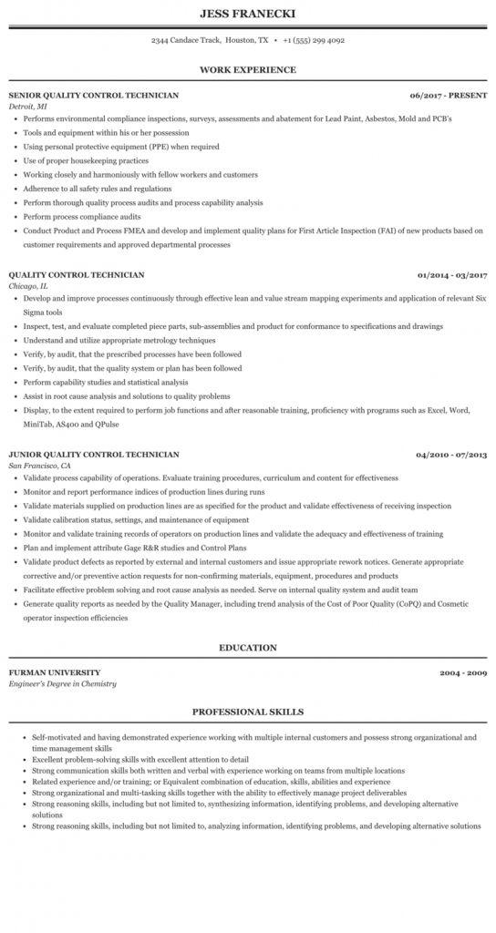 Quality Control Resume Sample 2021 In 2021 Nursing Resume Nursing Resume Template Psych Nurse