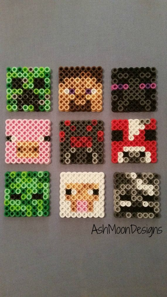 Minecraft Perler Bead Charms Magnets & Ornaments by AshMoonDesigns