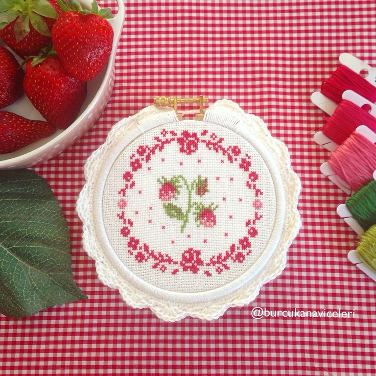 Çilek Kanaviçe / Strawberry Cross Stitch