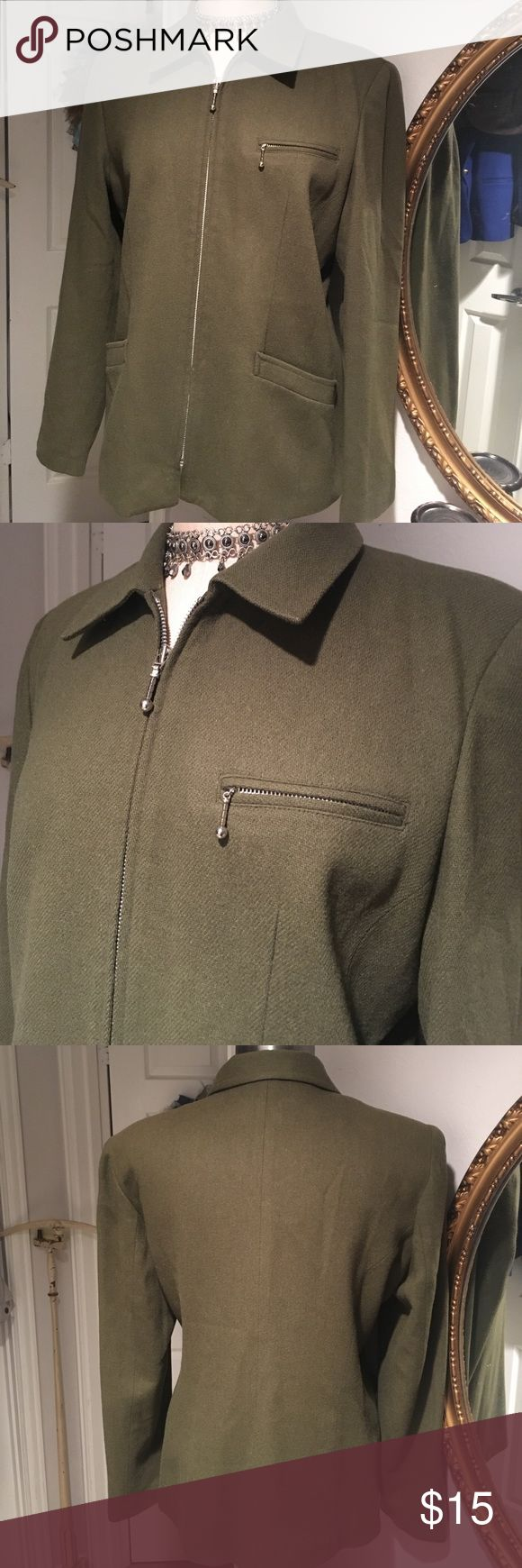 Laura Scott Olive Green Wool Blazer Sporty/Dressy zip front Blazer Laura Scott Jackets & Coats Blazers