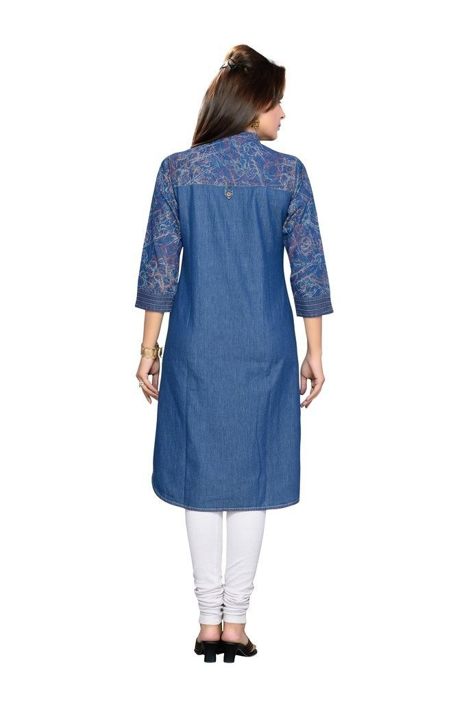 F-Loop Women Denim stitched kurti (D-8-XXL_Blue_XX LARGE Size)