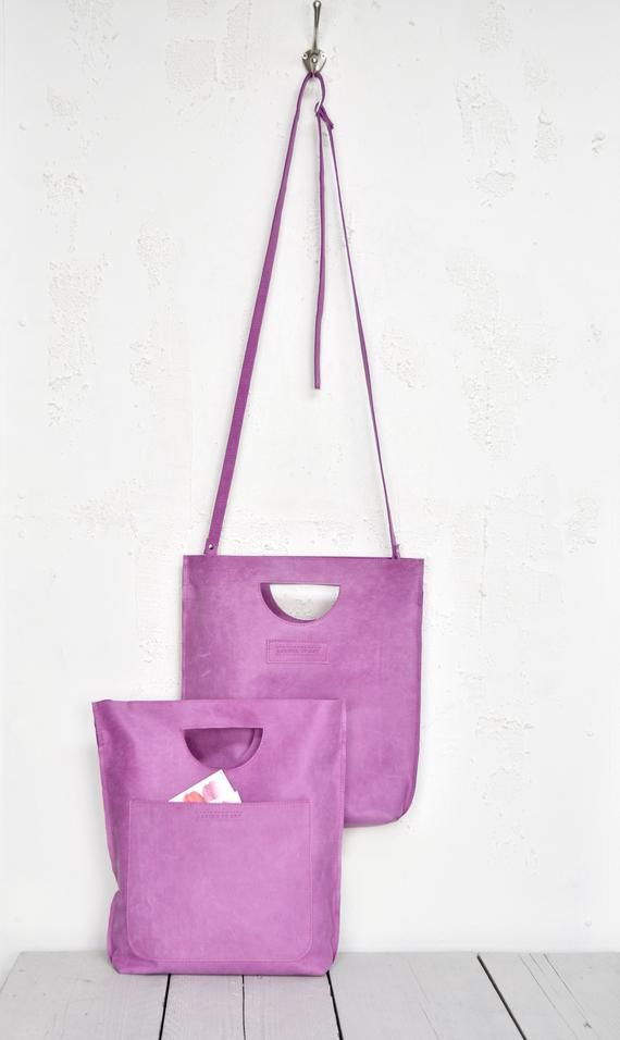 dae4cea0fa8 Pink Smile Bag, Sweet Lilac Leather Shopper with integrated Handle ...
