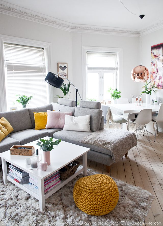 KREATIV-I-TET - interiørblogg med interiør, DIY og personlige tekster | Gul og rosa stue