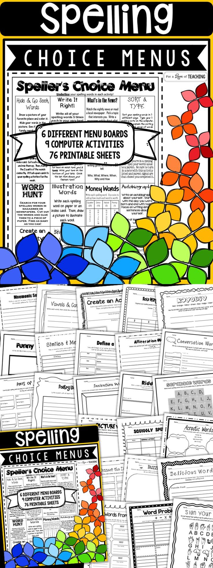 Best 25 5th grade spelling ideas only on pinterest 4th grade spellers choice menus spelling activity pages to last the entire year robcynllc Image collections