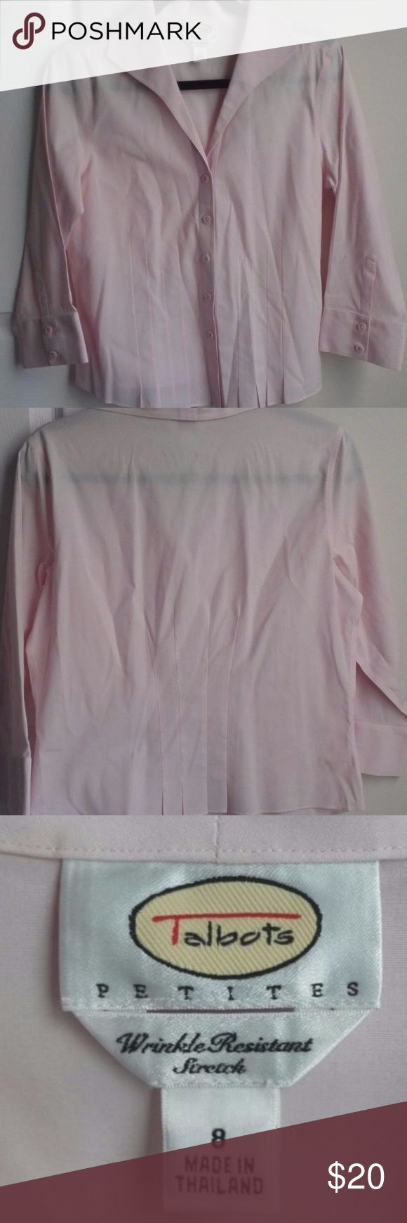 "Talbots Pink Shirt Wrinkle Resistant Stretch Talbots Women's Shirt Wrinkle Resistant Stretch Size 8 Petite Pink 3/4 Sleeve is in very good condition  96% Cotton  4% Lastol  Armpit to armpit 19.5"" Length 22"" Talbots Tops"