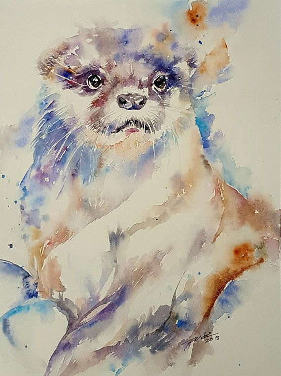 Otter Original Watercolour Animal  Painting Wall Art Wall