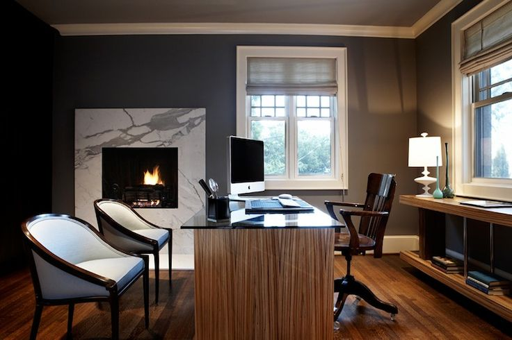Charcoal gray walls, exotic woods, perfect mix of classic & modern elements for a grown up & professional office - 70 Gorgeous Home Office Design Inspirations | DigsDigs