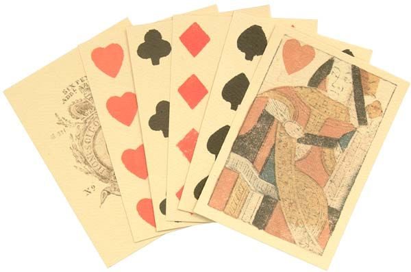 Copied from original 18th Century European style playing cards, these cards are hand stamped using colored inks on stiff cream colored, textured paper.   The Ace of Spades is printed with the The Crown and Garter from Great Britain's royal arms and the royal cipher G*III REX for King George III, as well as a tax marking SIXPENCE ADDl DUTY and the maker's name STOPFORTH.