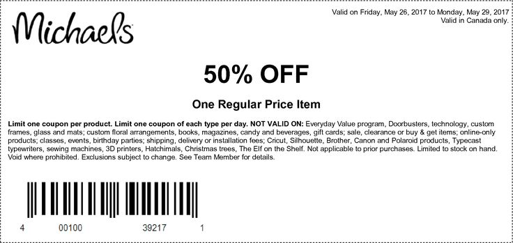 [Michaels]50% off one regular price item coupon - May 26 to 29 http://www.lavahotdeals.com/ca/cheap/michaels50-regular-price-item-coupon-26-29/205717?utm_source=pinterest&utm_medium=rss&utm_campaign=at_lavahotdeals