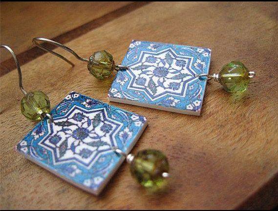 Turkish earrings, Islamic jewelry, Tile design, blue and green earrings, tribal