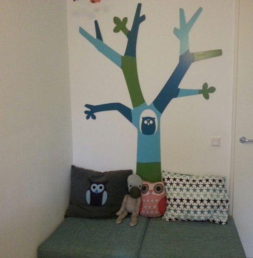 Themakamer met uiltjes en bomen, owls trees and forest as theme babykamer kinderkamer children kids room nursery diy