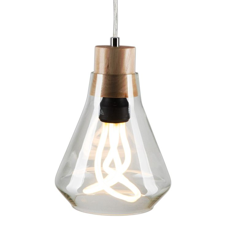 Brilliant 28W CONNOR Glass Pendant with Timber