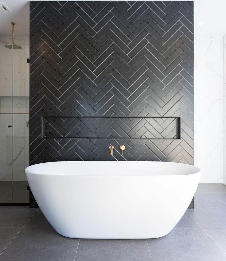 11 Bathrooms With Black Herringbone Tiles In 2020 Free Standing